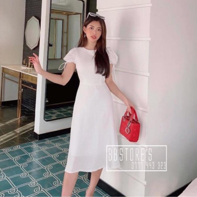 Đầm trắng🌷Đầm suông trắng tay phồng🌷FREESHIP 🌵Nhập MADEBY20 giảm 20k đơn trên 300k