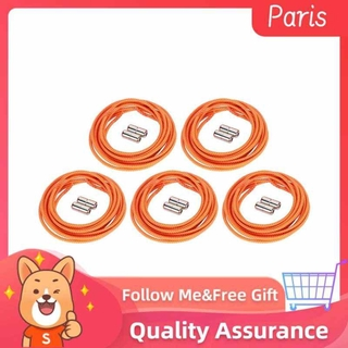 Superparis 5 Pairs Elastic No Tie Shoe Laces Metal Capsule Turn Buckle All-Match Quickly Lace for Sneakers Boots Board and Casual Shoes(Orange) thumbnail