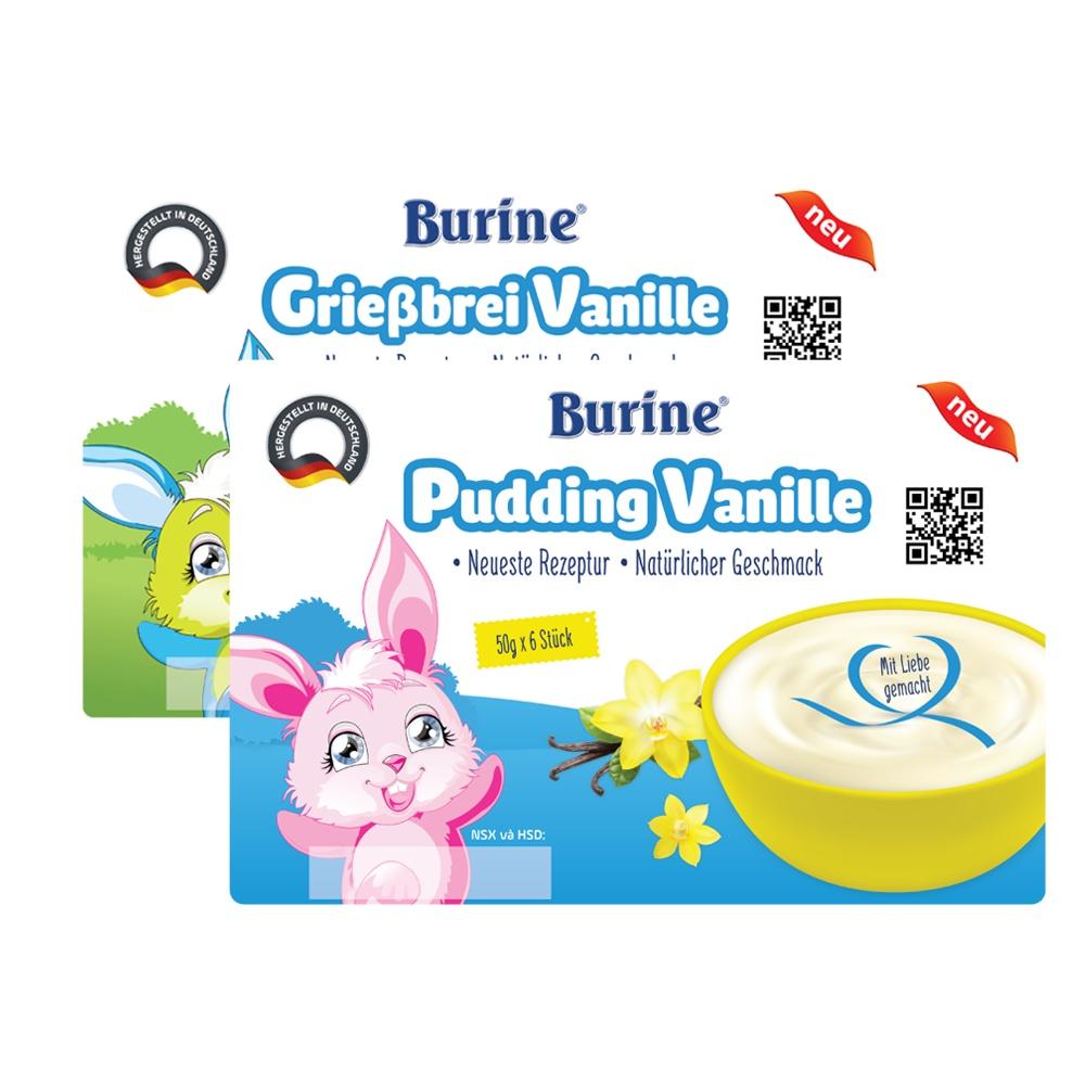 [QUÀ TẶNG] Cháo sữa/ Pudding ăn dặm Burine - HiPP dành cho bé từ 6 tháng tuổi (Vỉ 6 Hũ x 50g)