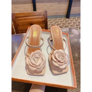 Giầy Sandal Nữ Đế Cao * Giày Sandal Nữ Cao Gót Đế Trụ 7F * Sandal Xỏ Ngón Hoa Siêu Xinh (A35.20#4)