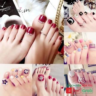 Set 24 móng chân giả đính đá thời trang thanh lịch cho nữ + Chai keo