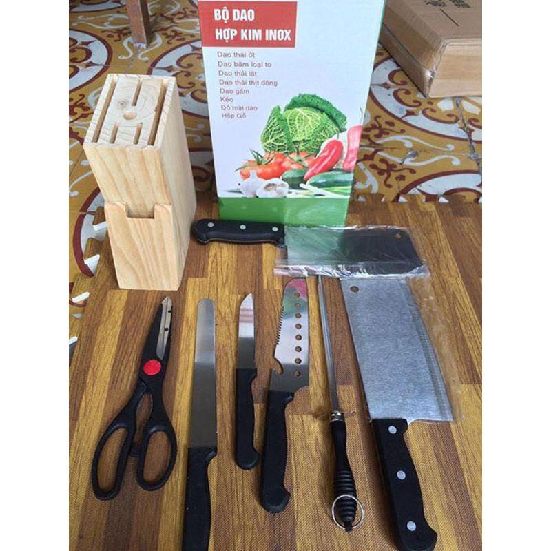 Bộ dao kéo hợp kim inox 7 món cao cấp kèm giá cắm gỗ - 2801360 , 80077565 , 322_80077565 , 95000 , Bo-dao-keo-hop-kim-inox-7-mon-cao-cap-kem-gia-cam-go-322_80077565 , shopee.vn , Bộ dao kéo hợp kim inox 7 món cao cấp kèm giá cắm gỗ