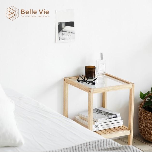 Kệ Đầu Giường Khung Gỗ Mặt Kính 2 Tầng BelleVie Tab Đầu Giường Mặt Kính Glass Shelf