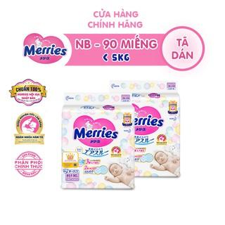 Combo 2 Tã/bỉm dán Merries size NB – 90 miếng (Cho bé dưới 5kg)