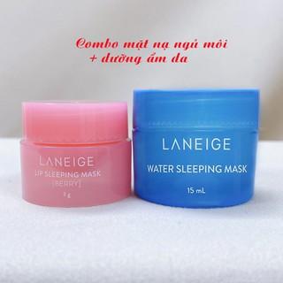 Combo mặt nạ ngủ môi + dưỡng ẩm da mặt (Vỏ Hồng Xanh) Laneige Hàn Quốc mini size mẫu mới nhất thumbnail
