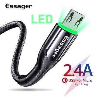 Cáp Sạc Nhanh Truyền Dữ Liệu Essager Cổng Micro USB Có Đèn LED 2.4A Dài 3M 2M