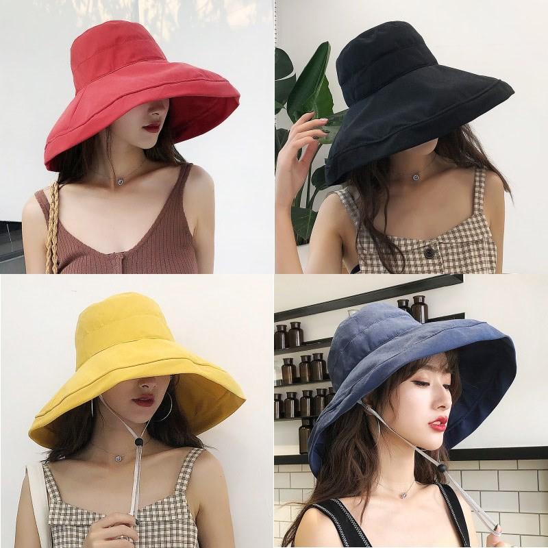 Mũ vành rộng vải canvas chống nắng màu trơn thời trang cho nữ