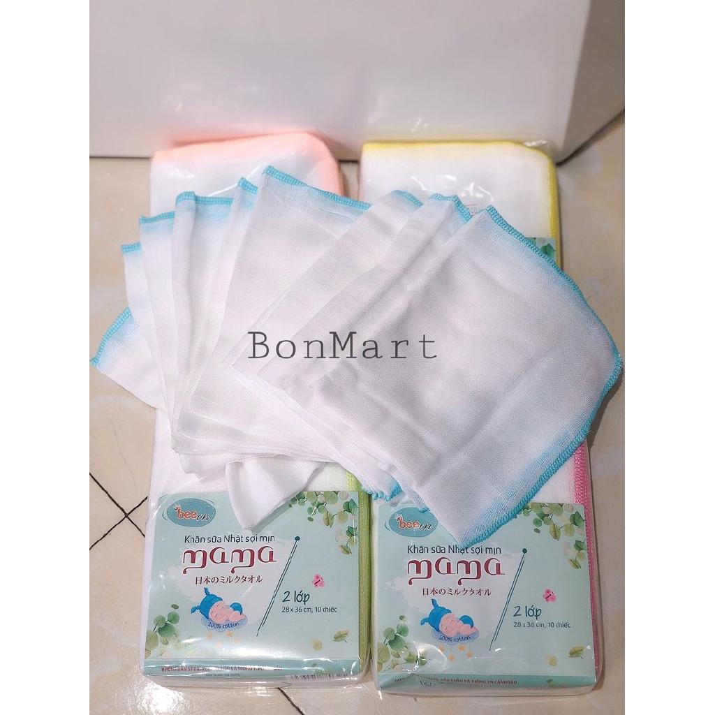 Khăn xô, khăn sữa Mama xuất Nhật túi 10 chiếc (2-3-4 lớp)