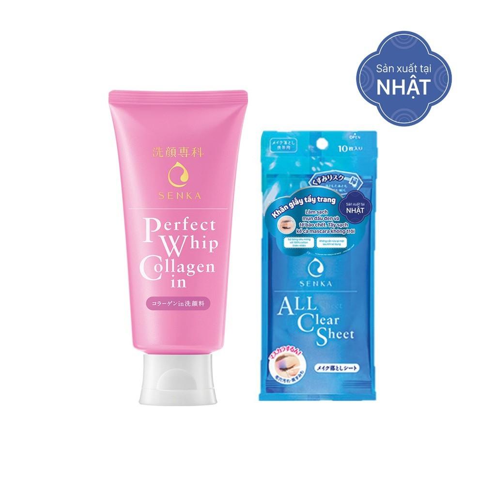 Combo Sữa Rửa Mặt Tạo Bọt Collagen Senka Perfect Whip Collagen In 120g và Khăn Giấy Tẩy Trang 10 Miếng