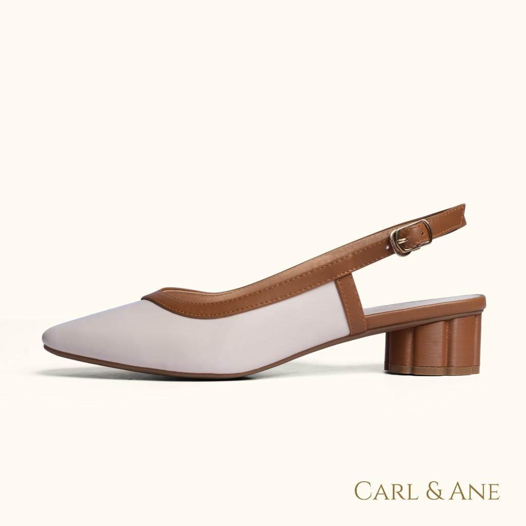 Carl & Ane - Giày cao gót nữ kiểu dáng bít mũi phối dây đơn giản thời trang màu kem nhạt _ CL005