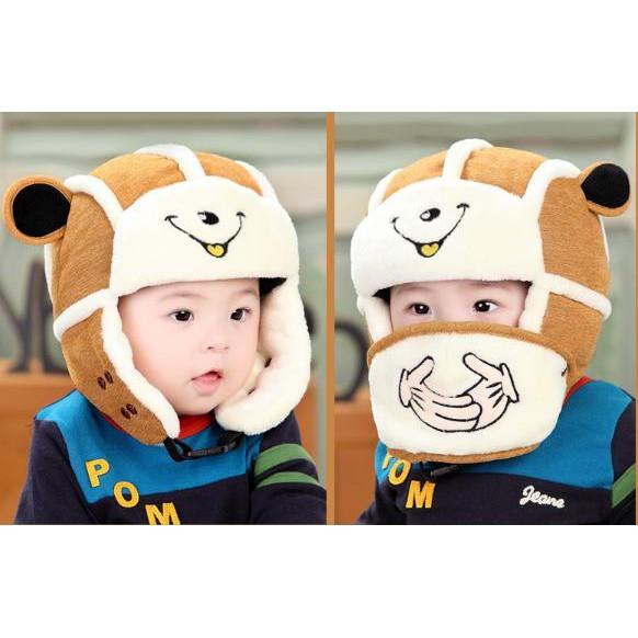 Mũ len trùm tai kèm khẩu trang cho bé
