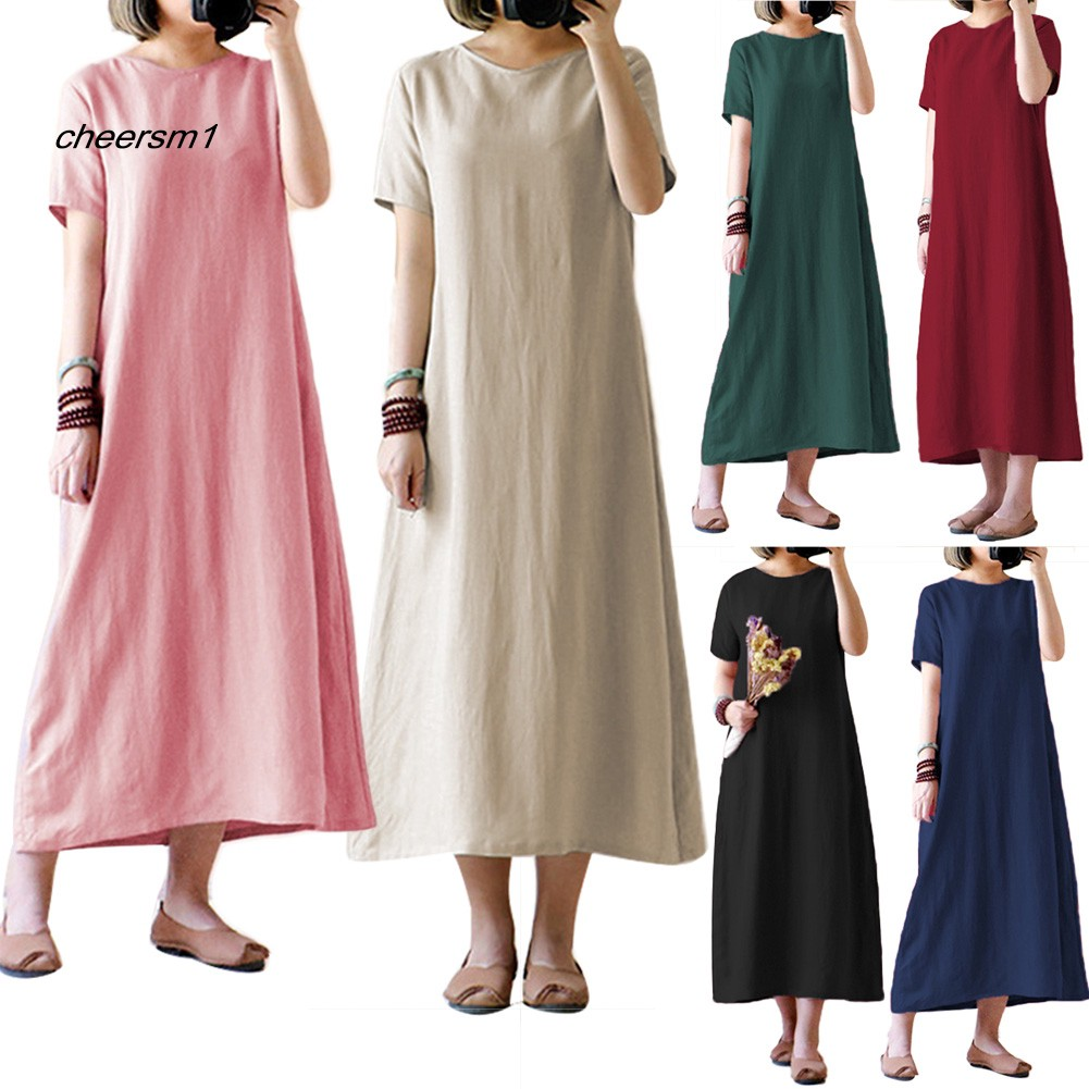 CHE♥Plus Size Vintage Women Solid Color Short Sleeve Round Neck Loose Maxi Dress