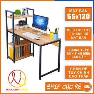 Bàn làm việc khung sắt kèm giá sách sơn tĩnh điện chịu lực cao, bàn vi tính hoặc bàn học, làm việc lắp ráp dễ dàng