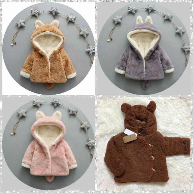 Áo gấu chồn dày bông ấm áp cho bé