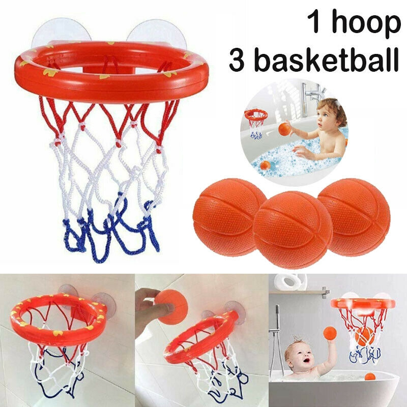 Kids Bath Basketball Hoop Ball Bathtub Shooting Shower Water Play Game Pool Toys
