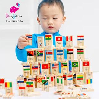 Domino gỗ 100 quân hình cờ các quốc gia – Dạy trẻ địa lý tìm hiểu các nước trên thế giới