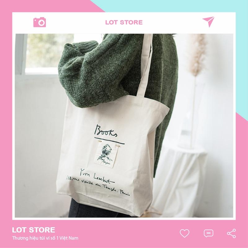 Túi totte đeo chéo giá rẻ vải canvas mềm trơn đẹp đi học TX57