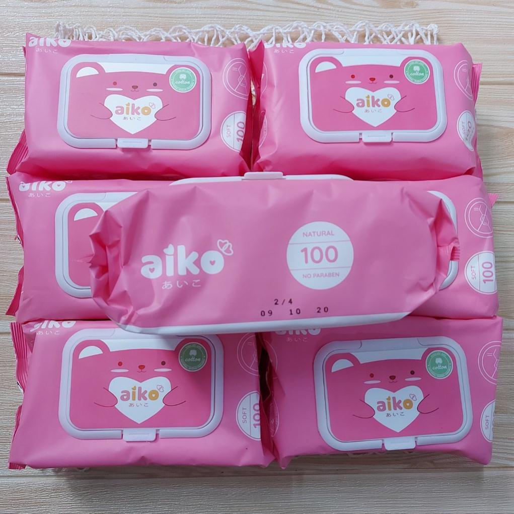 [Mã 267FMCGSALE giảm 8% đơn 500K] Khăn ướt cho bé Aiko 100 tờ không mùi
