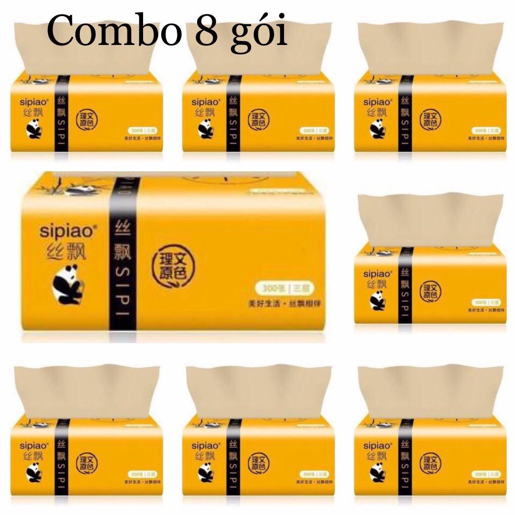 Combo 8 gói giấy ăn gấu trúc Sipiao