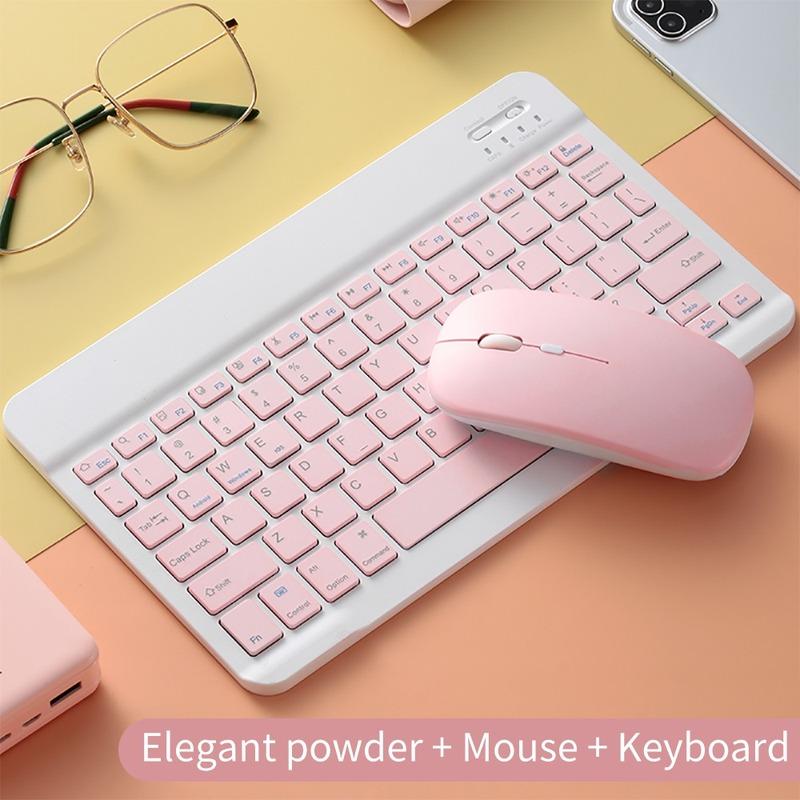 Bộ Bàn Phím Bluetooth 10 Inch + Chuột Không Gây Tiếng Ồn Cho Ipad Máy Tính Bảng Điện Thoại PC (có bán lẻ bàn phím)