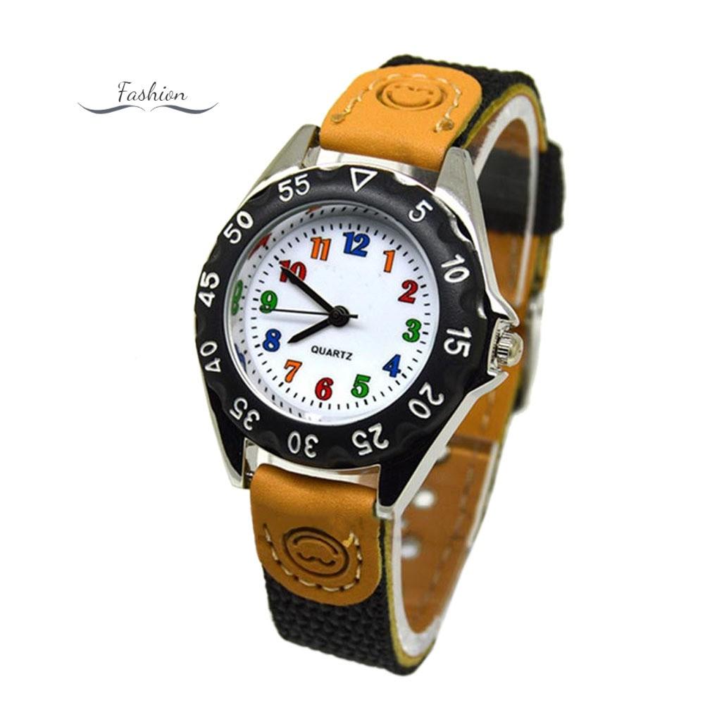 Đồng hồ kim mặt tròn dây vải dễ thương cho bé