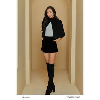 Áo khoác dạ đen lông cừu Elise thumbnail