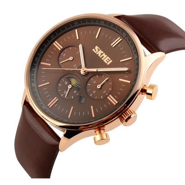Đồng hồ nam dây da 6 kim cao cấp Skmei 9117 (6 màu)