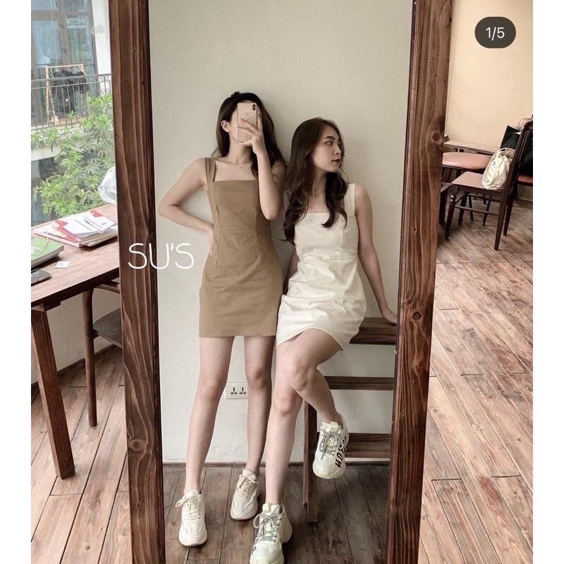 Váy 2 dây bản to basic liền chun sau - Đầm 2 dây dáng ôm mẫu mới 2021 ❤️