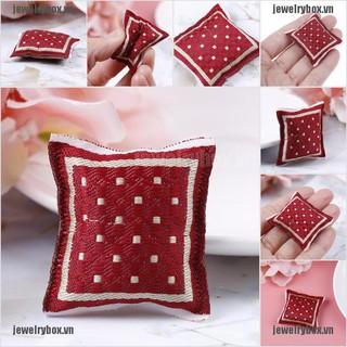 JX 1:12 Dollhouse turkish square pillow cotton linen core miniature accessories[VN]