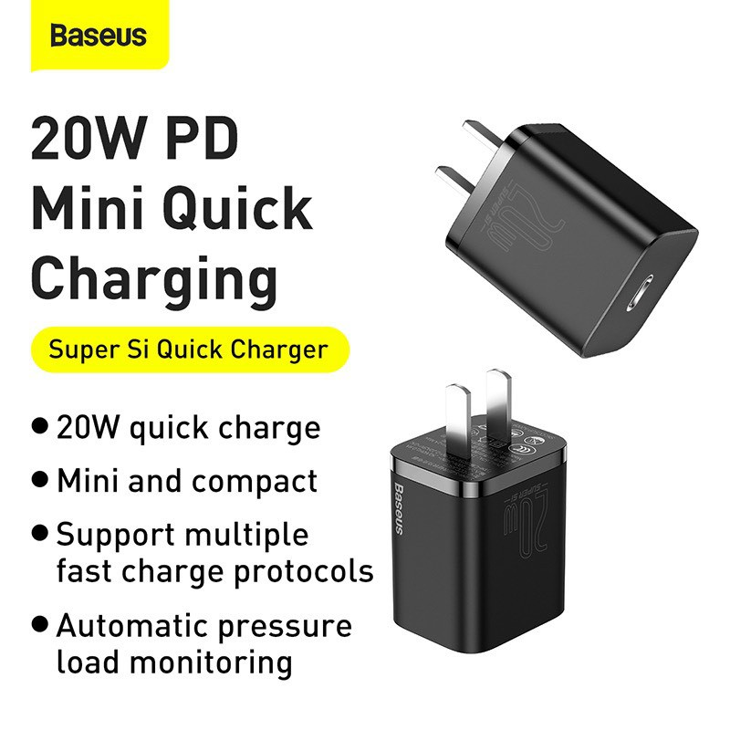 Củ Sạc PD 20W Baseus Super Si Type C - Hỗ Trợ Sạc Nhanh QC3.0 -  Kích Thước Nhỏ Gọn Cho Android / iPhone 12 Pro Max