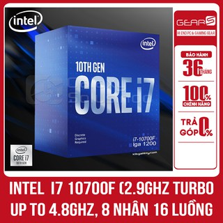 CPU Intel Core i7 10700F (2.9GHz turbo up to 4.8GHz, 8 nhân 16 luồng, 16MB Cache, 65W) – Full box nhập khẩu