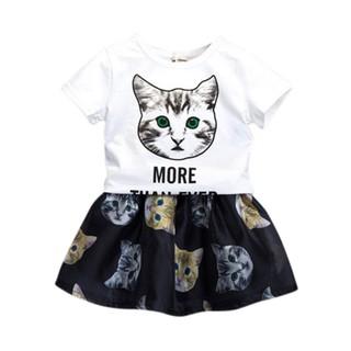 Áo tay ngắn và váy ngắn hình mèo đáng yêu cho bé