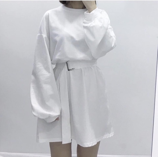 Váy sweater tay bồng tặng kèm dây lưng siêu hot