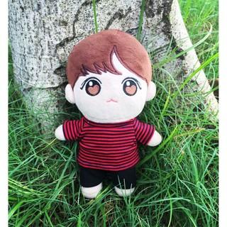 bộ áo sọc đỏ đen cho doll 20cm