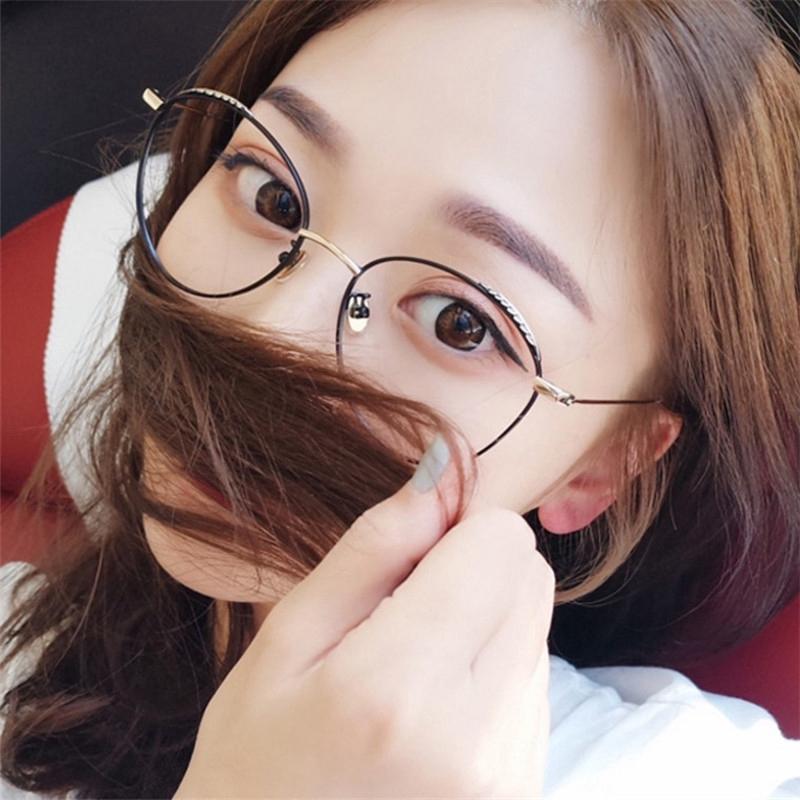 แ ว่นตาแ ว่นกรองแสงเกาหลี ย้อนยุคออกแบบกรอบโลหะแ ว่นตาสำหรับผ ู้หญิง ป้องกันรังสี