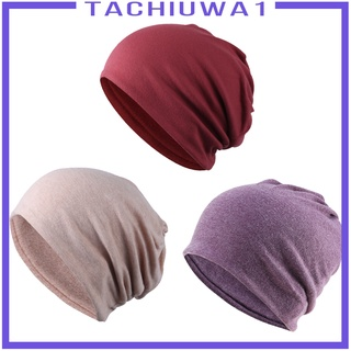 [TACHIUWA1] 3Pcs Women Mens Cotton Slouchy Beanie Hat Sleep Chemo Cap Headwear Turban