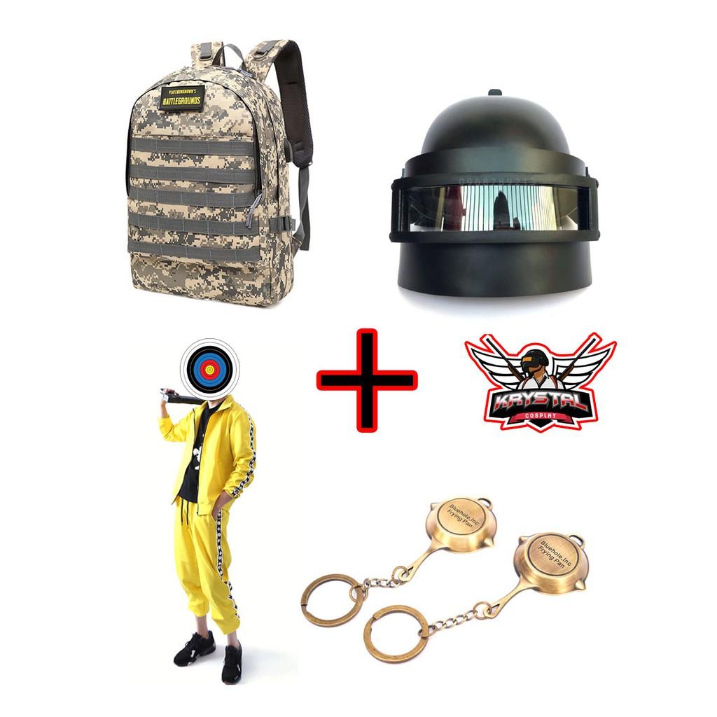 Combo Mũ 3 + Balo 3 + Bộ đồ vàng PUBG cosplay tặng 1 móc khóa PUBG bất kì