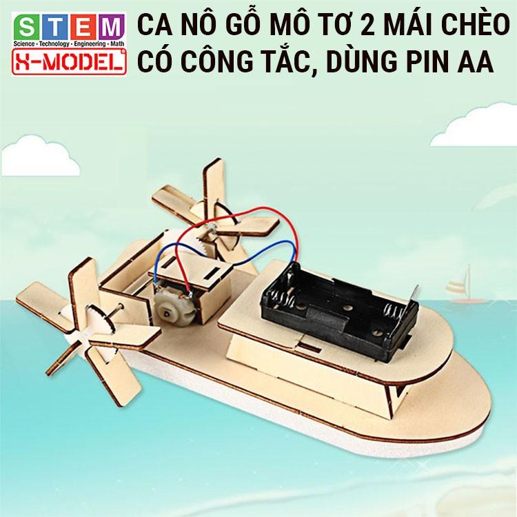 Đồ chơi sáng tạo STEM Ca nô gỗ mô tơ mái chèo X-MODEL ST68 đi được trên nước cho bé, Đồ chơi trẻ em| Giáo dục STEM,STEAM