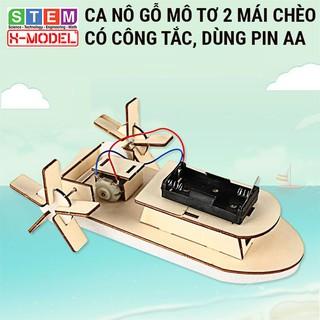 Đồ chơi sáng tạo STEM Ca nô gỗ mô tơ mái chèo X-MODEL ST68 đi được trên nước cho bé, Đồ chơi trẻ em  Giáo dục STEM,STEAM