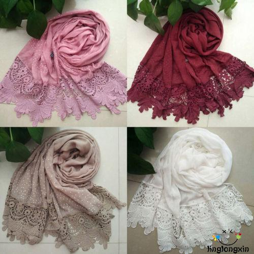 ♪TY★Women Soft Long Neck Large Scarf Wrap Shawl Pashmina Stole Scarve Cotton Lace Patchwork Solid Scarves