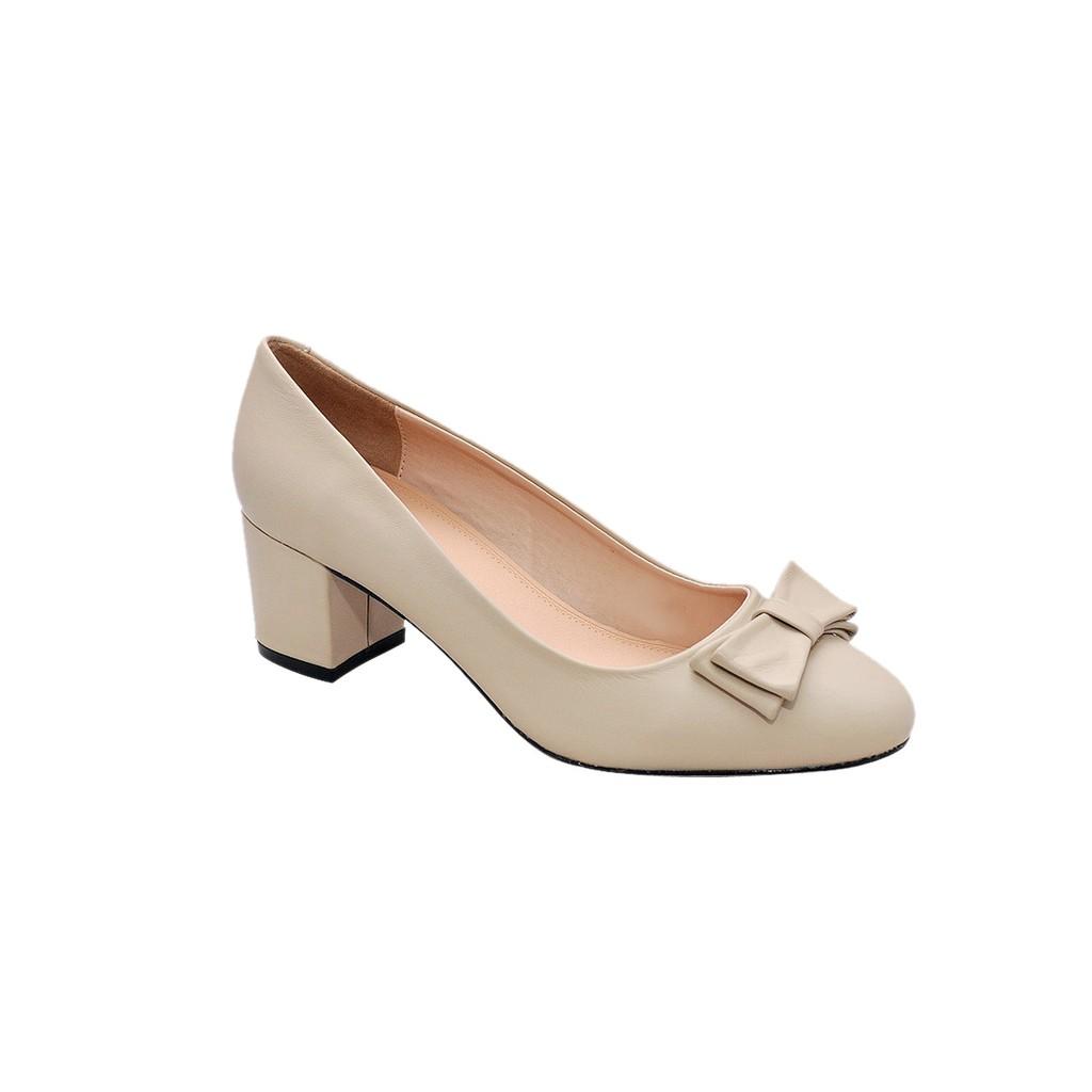 Giày nữ cao gót 5cm da bò thật cao cấp màu kem ESW177