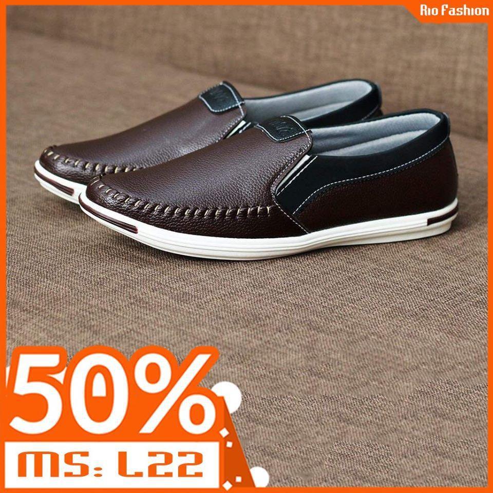 Giày lười nam da mềm 2 màu nâu và đen (L22)