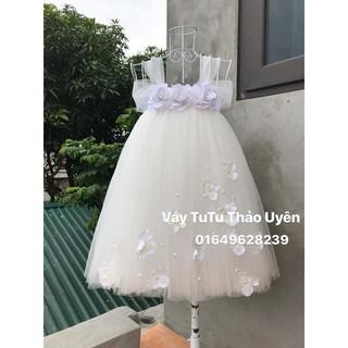 Freeship 99k toàn quốc_,Váy công chúa màu trắng cho bé