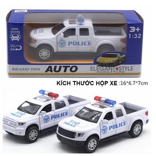 Mô hình xe ô tô cảnh sát bán tải mini bằng sắt đồ chơi trẻ em xe chạy cót có âm thanh và đèn