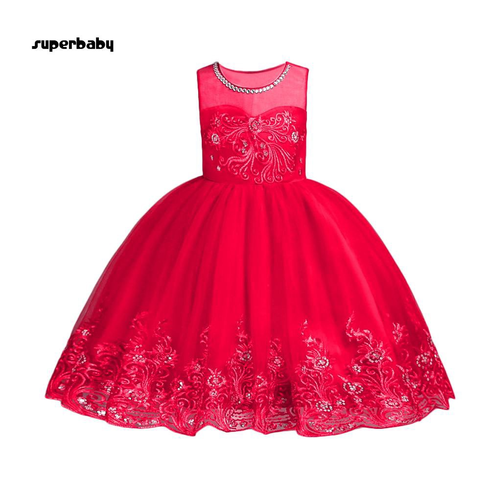 SBaby-Fashion Sleeveless Solid Color Bowknot Girl Party Performance Kids Dress Gift