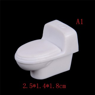 ☆VN Mini White Unpainted Toilet Model Doll House Miniature Furniture