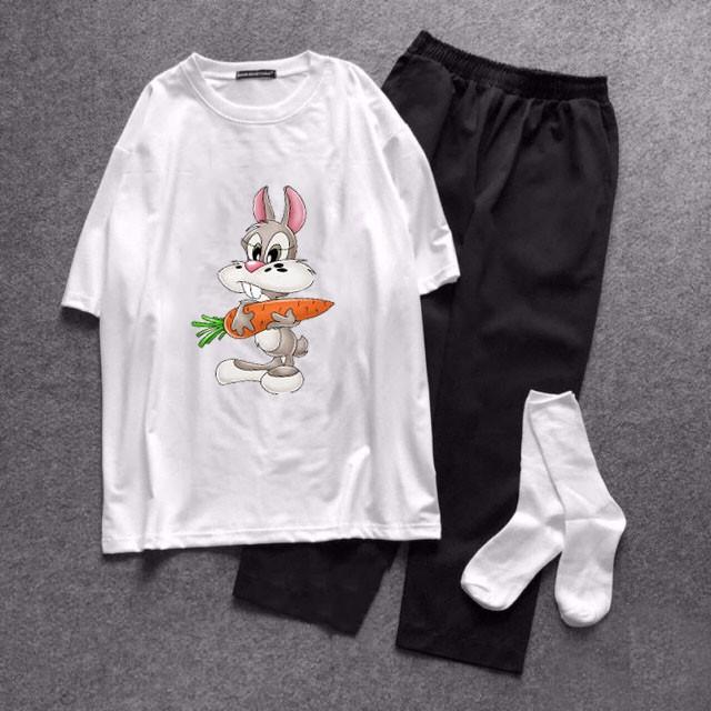 Sét Bộ Đồ Quần Áo Nữ Đẹp Giá Rẻ Xinh Cute, Áo Thun Phông Cotton Organic In Thỏ Ăn Cà Rốt Kèm Quần Thô Kẻ & Jogger Kaki