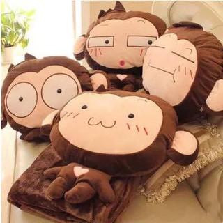 [ HOT SALE ] ẢNH THẬT – Bộ Chăn Gối 3in1 Khỉ Nâu To Cao Cấp (Bộ Chăn Gối Văn Phòng 3 Trong 1)