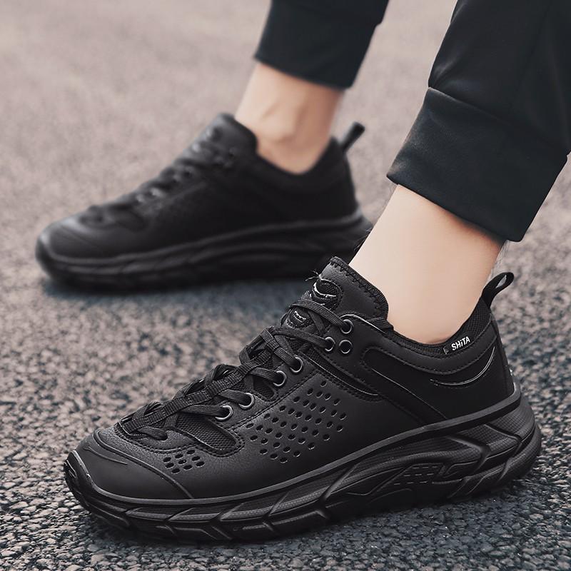 【จัดส่งฟรี】นใหม่และการพักผ่อนรองเท้าน้ำทั้งหมดสีดำรองเท้ากันลื่นรองเท้าผู้ชายเก่า