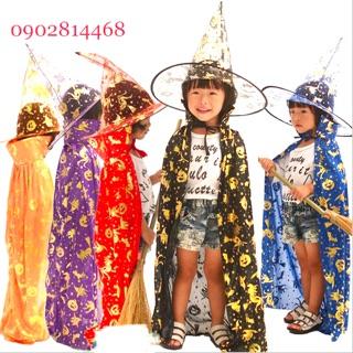 Combo áo choàng nón phù thuỷ cho bé từ 2t-10t